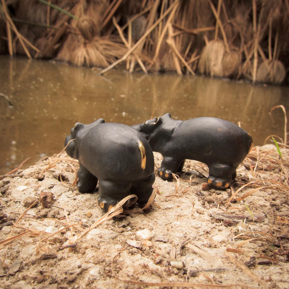 Walter Bosse hippopotamus friends drinking