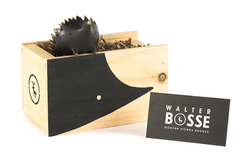 Walter Bosse Bronze Hedgehog Ashtray, Wooden Box and Certificate