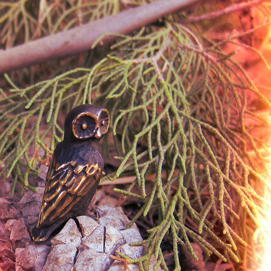 Walter Bosse Owl on Pinecone
