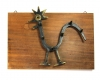 Wood Mounted Rooster Wall Hook by Walter Bosse, Unmarked