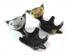 """Walter Bosse Aluminum and Brass Cat Egg Cups, 8 cm L, Marked """"M.I.W.6. K22B & Made In Germany"""""""