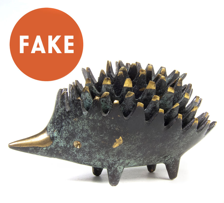 Walter Bosse Hedgehog Ashtrays - Green Patina