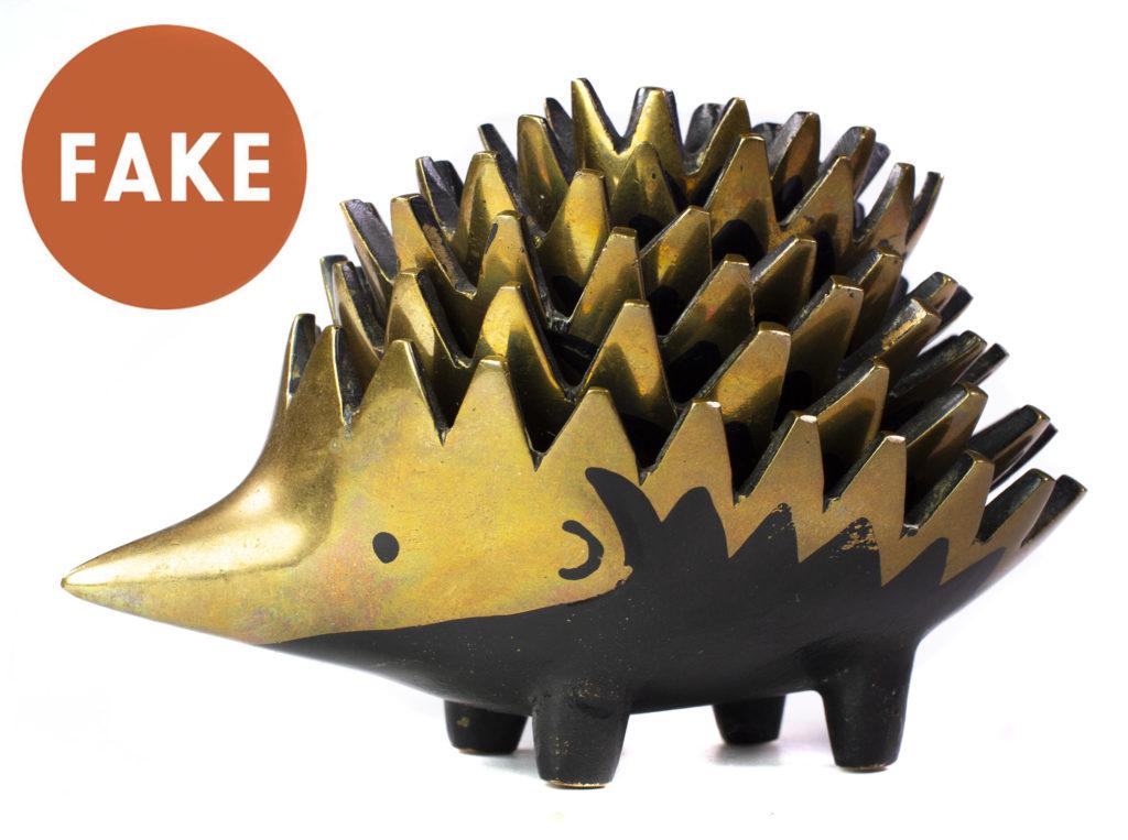 FAKE French Brass Hedgehog Ashtrays