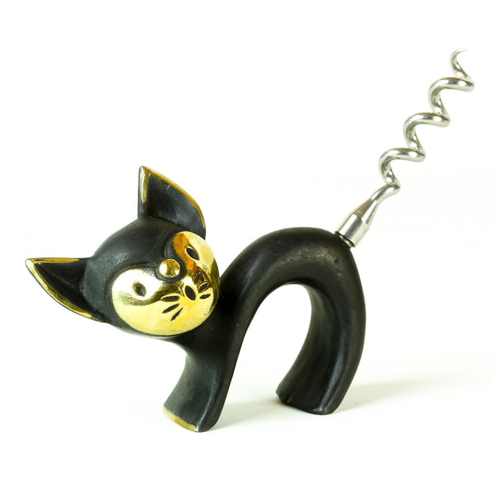 Walter Bosse Brass Cat Corkscrew Katze Modern Vienna Bronze