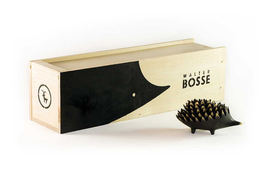 Walter Bosse Hedgehog Ashtray and Wooden Crate