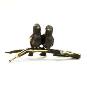 Walter Bosse pair of birds on a branch bronze figurine (6101)