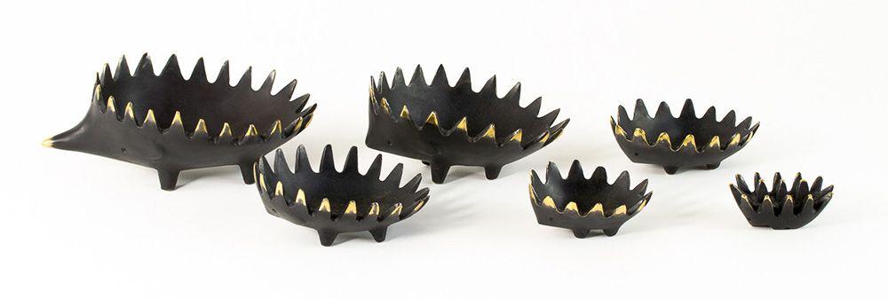 Walter Bosse Bronze Hedgehog Ashtrays