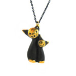 "Walter Bosse Brass Pair of Cats Necklace — ""Katzenpaar"" — 5251N"
