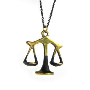 "Walter Bosse Brass Libra Scales Necklace — ""Waage"" — 6017N"