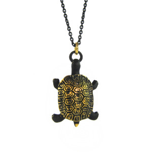 "Walter Bosse Brass Sea Turtle Necklace — ""Schildkröte"" — 6113N"
