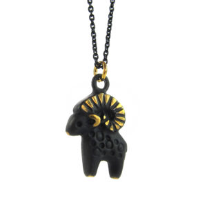 "Walter Bosse Brass Aries Ram Necklace — ""Widder"" — 6011N"