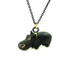 "Walter Bosse Brass Hippo Necklace — ""Nilpferd"" — 6024N"