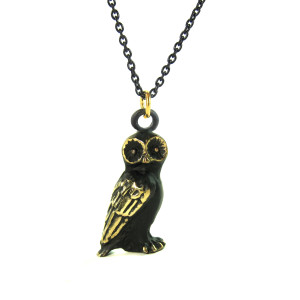 "Walter Bosse Brass Barn Owl Necklace — ""Schleiereule"" — 6102N"