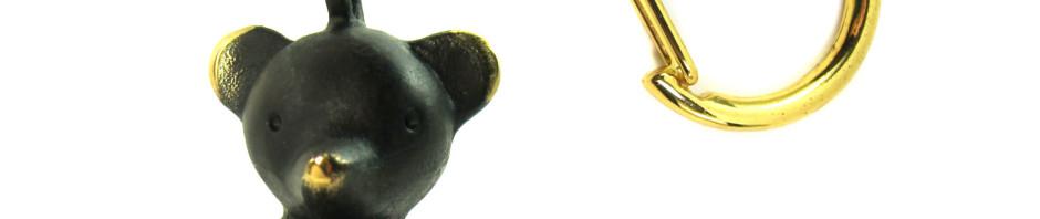 """Walter Bosse Brass Bear Keychain — """"Bär"""" — 1054A"""