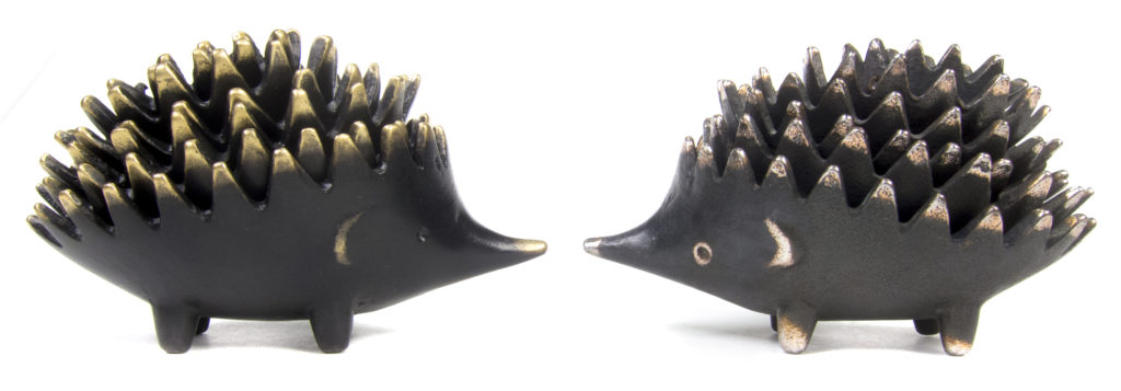 Walter Bosse Steel vs Brass Hedgehog Ashtrays
