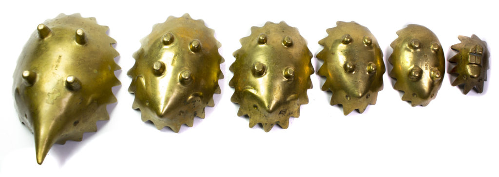 Made in Italy Brass Hedgehog Ashtrays