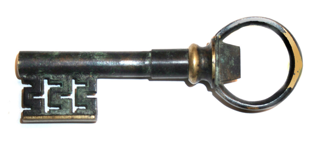 German Key Corkscrew - Green Patina